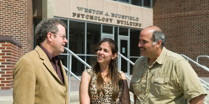 Dr Kalichman & Dr Kenny with Lisa Eaton outside Bousfield Psych Bldg
